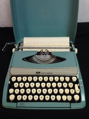 Vintage Pale Blue Smith Corona Typewriter in Case #2