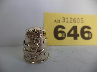 Vintage .925 Solid Silver Thimble with Fairies Riding a Butterfly Decoration