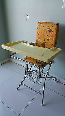Vintage STROLEE Yellow High Chair Padded Vinyl Metal Construction Foldable