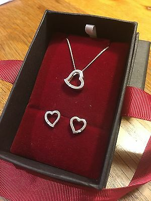 Heart Necklace And Earring Set Silver And Diamonds Goldsmiths