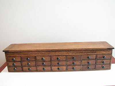 Old Rare Apothecary 1/4 Cut Oak Cabinet - 21 Drawer