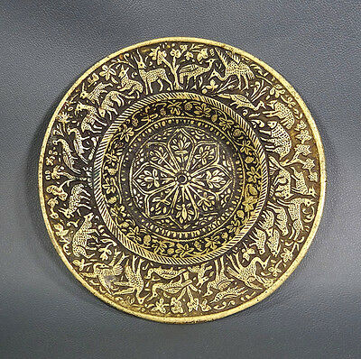 19c.ANTIQUE QAJAR PERSIAN SOLID BRONZE BRASS PLATE DISH TRAY ANIMALS BIRDS SCENE