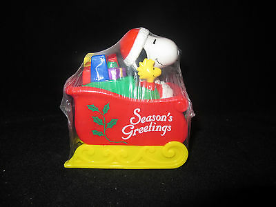 Peanuts Snoopy In Christmas Sled Candy Dispenser Toy Piggy Bank Whitman's