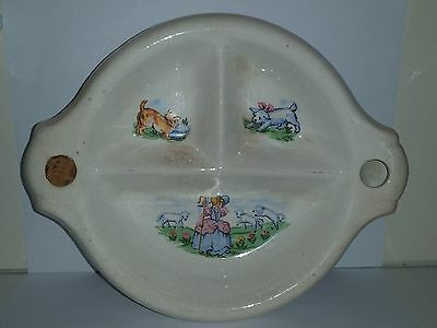 Vintage Antique Ceramic Or Glass Baby Nursery Rhyme Warming Divided Dish