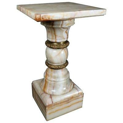 "Antique Onyx and Gilt Bronze Sculpture Stand, 29""h, circa 1890"