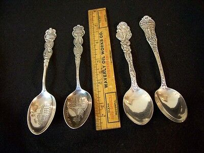 4 Antique Sterling Silver Souvenir Spoons: Sd, Mass., Iowa, Ny