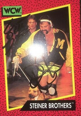 The Steiner Brothers Dual  signed card MINT ,wrestling,we,wwe,wwf,tna,wcw,nwo