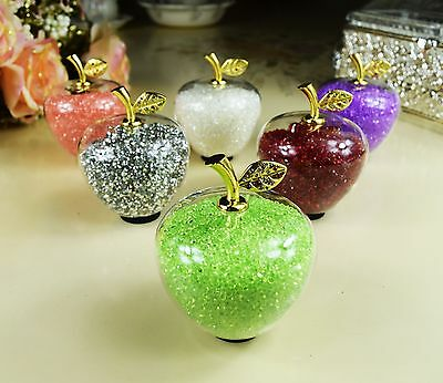 Crystal Clear Glass Apple Swarovski Elements Figurine & Gift Box Wedding gift