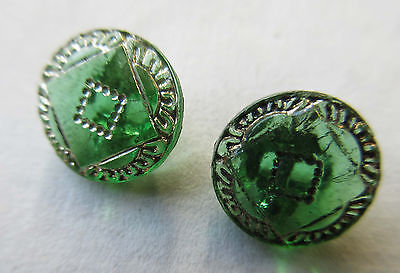 """1 Doz Vintage Antique Green/Silver Glass Buttons W/Shank Unused Doll 3/8"""""""
