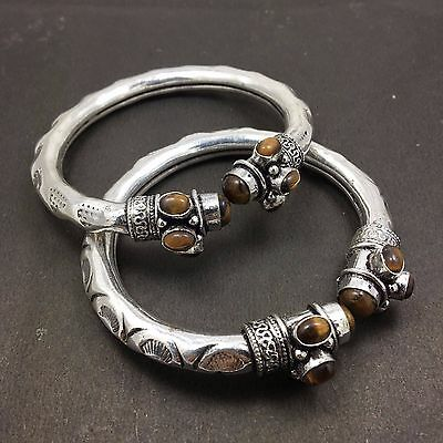 Wholesale Lot 2 pcs Tigers Eye 925 Sterling Silver Plated Tribal Unique Bangles