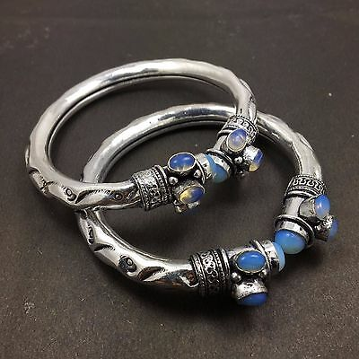 Wholesale Lot 2 pcs Moon Stone 925 Sterling Silver Plated Unique Tribal Bangles