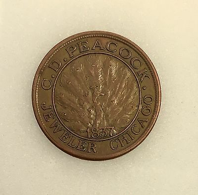 "1837 C.D. Peacock Jeweler Chicago Hard Times Advertising Token ""Time Is Money"""