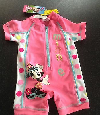 girls minnie mouse surfsuit sunsuit uv 40+ pink white polka 3-6 months new tag