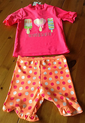 girls 2 piece surfsuit sunsuit uv 40+ pink orange ice lollies 9-12 month new tag