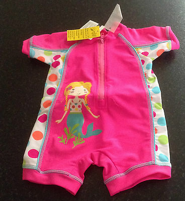 girls mermaid surfsuit sunsuit uv 40+ pink white polka dots 6-9 months new tag