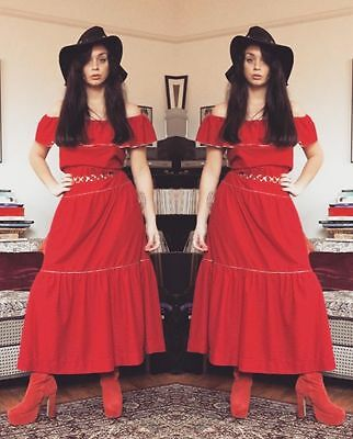 Vintage 1970s style red gypsy Esmeralda dress, size 10/12 from C&A.