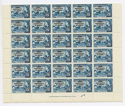 Ghana 1957-58 4d blue complete sheet of 60 SG176 MNH cat £390+