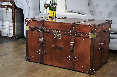 Finest English Leather Handmade Steamer Trunk Chest