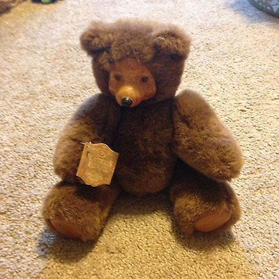 COLLECTIBLE Raikes Bears Small Brown Bear with Wooden Face, Tags Attached