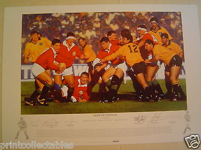 Pride of Lions '89 British Lions Rugby Signed Print by Simon Smith