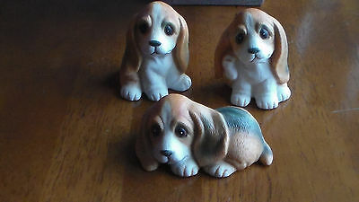 Vintage HOMCO Porcelain, Adorable BEAGLE DOG FIGURINE TRIO, EXC. COND!
