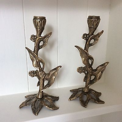 Heavy Pair Of Pretty Art Nouveau Style Brass Candlesticks