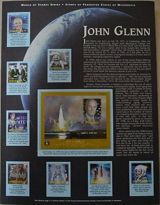 John Glenn 1998 Micronesia Stamp Collection, 9 stamps total, mint condition