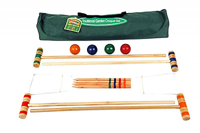 Junior Traditional Lawn Croquet Set For Children Include Mallets Hoops And Balls