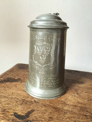 Queens College Oxford Pewter tankard marked 1861 - Rowing Memorabilia- History