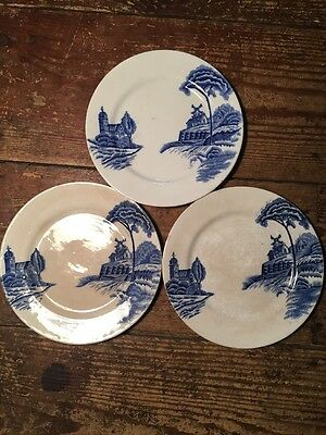Unmarked Blue And White Windmill And Church Plates X3