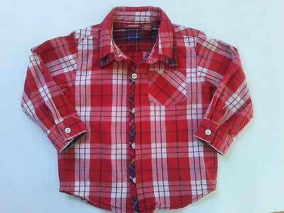 Arizona Jeans Boy's Shirt Size 24 Months Red Plaid Long Sleeve Button Down
