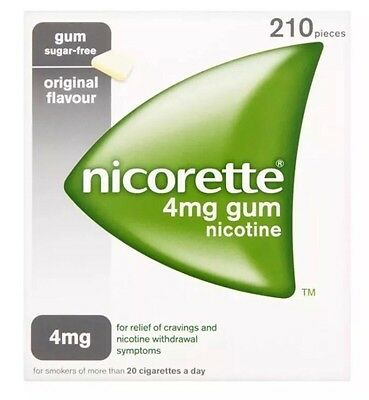 Nicorette Original Flavour Sugar-Free Gum 4mg Nicotine 210 Pieces--3 Pack 630gum