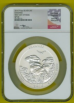2016-P-5oz-SILVER-ATB-25C-SHAWNEE-NGC-SP70-1ST-DAY-ISSUE-JOHN MERCANTI-SIGNED