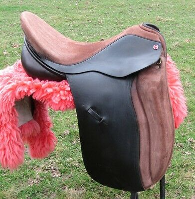 """18"""" Brown English Suede and Leather Albion Med/Wide (MW) Dressage Saddle"""