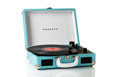 Grausch Briefcase Style Three Speed Portable Vinyl Turntable Record Player Blue