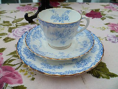 Vintage / Antique English China Trio Tea Cup Saucer Blue & White Floral