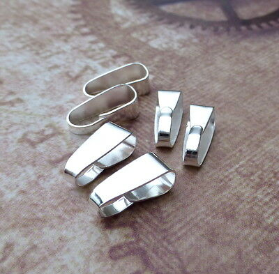 Pack of 50  Silver Plated Clip Bail Pendant Bails