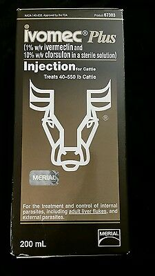 NEW Merial Ivomec Plus 200 ml For Cattle (Injection) sealed! Free shipping 67303