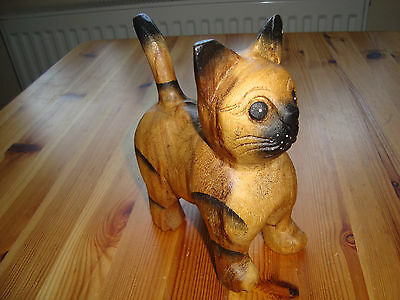 Wooden Carved Cat Figurine