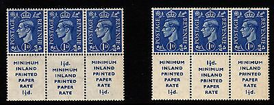 GB: GVI 1d mint booklet panes, normal and inverted watermark, March 1952