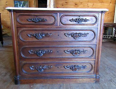 Victorian Walnut Marble Top Dresser With Carved Pulls