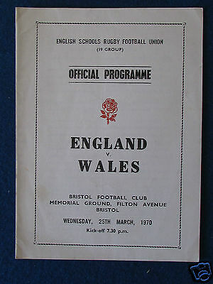 English Schools (19 Group) Rugby Union Programme - England v Wales - 25/3/70