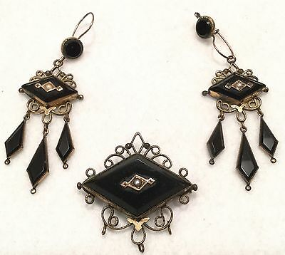 19th c. 3pc French Victorian 10k Gold & Faceted Jet Mourning Jewelry Set - EXC!