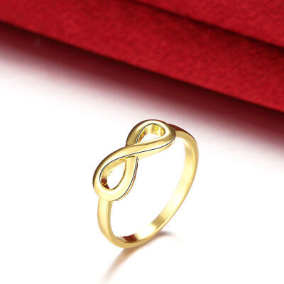 Fashion Women's Jewelry Gold Plated Wedding Band Engagement Ring Gift Size 7 8