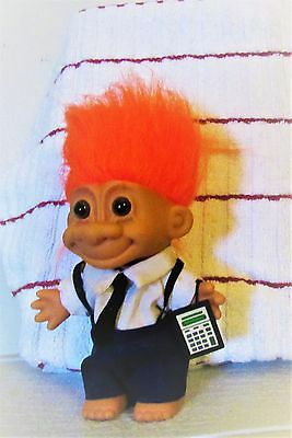 Troll Doll Accountant with Calculator 5 in tall with orange hair