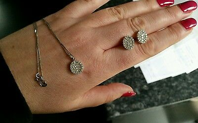 Genuine 0.5 carat diamond white gold cluster pendant with chain NECKLACE ONLY