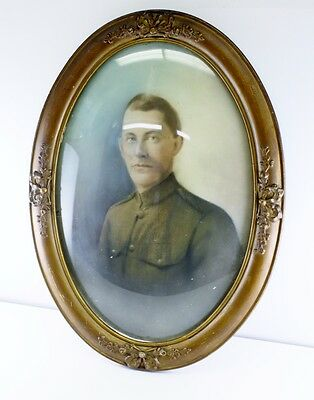 Antique Soldier Photo Picture Frame Ornate Bubble Glass Convex Dome Oval Wood &