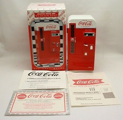 New! Collectible Coca Cola Die Cast Metal Musical Vending Machine Coin Bank