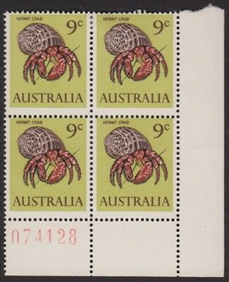 Australia SG390 Hermit crab mint sheet number block of 4