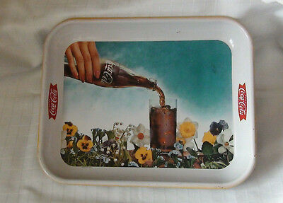 Vintage 1960's Coca-Cola Serving Tray -Flower Garden And Bottle- 34Cmx27Cm -Used
